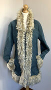 Pure Denim Faux Fur Afghan Style Coat Size 12 Penny Lane Hippie 60and039s