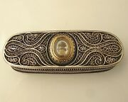 Rare Georgian Filigree Silver Toothpick Box With Gold-mounted Plaque C1790
