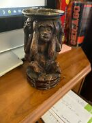 Vintage Decorative Famous 3 Monkey Candle Holder 71/2 High Ex Cond.