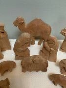 Hand Carved Wood Nativity - 15 Pieces - Christmas