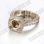 14k Yellow Gold Round And Cushion Real Si/h Diamonds Semi Mount Engagement Ring