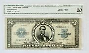 1923 5 Large Silver Certificate Lincoln Porthole Note. Fr-282. Us. Very Fine