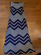 Women's Long Summer Dress Navy Blue And White Lined Strapless Maxi Size Small
