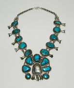 Beautiful Vintage Sterling Silver Turquoise Squash Blossom Necklace 2 Parts