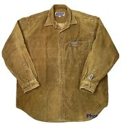 Vtg Snickers Corduroy Button Shirt Size Xl Long Sleeve Embroidered Candy Logo