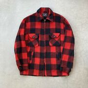 Vintage 90s Full Zip Jacket Red Buffalo Plaid Wool Made In Usa Menandrsquos Size Large