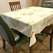 """Vintage Wilendur Fall Tablecloth Theme Cattails And Wheat 53"""" X 66"""" Tagged"""