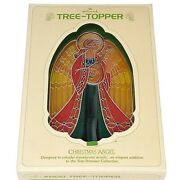 Vintage Christmas Angel Tree Topper Hallmark 1979 Faux Stained Glass Acrylic Box