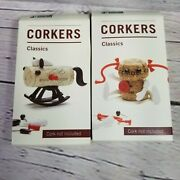 Corkers Monkey Business Novelty Wine Cork Characters Decorations Set Of 2 New