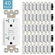Gfci 15a 125v Wall Outlet Electrical Receptacle W/wall Plate Cover White 40 Pack
