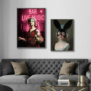 Modern Abstract Funny Rabbit Ears Painting Artwall Canvas Poster Home Room Decor