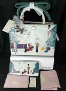 Radley Picture Christmas Little Drummer Boy Leather Grab Bag And Purse Bnwt A