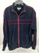 Menand039s Velour Track Jacket Size M Black Norm Thompson Vintage Full Zip Pre-owned