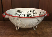 Vintage White And Red Footed Enamelware Colander Farmhouse Country Kitchen Decor
