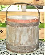 Antique Primitive Sugar Firkin W/lid 12 With Swing Handle 4 Tone Great Patina