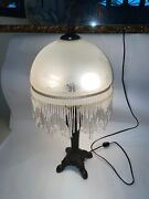 20 Victorian Table Lamp Glass Shade Fringe Beaded Accent White Floral