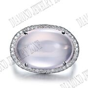 Unique Real Diamonds Oval 17x12mm Pink Quartz Gemstone Ring Solid 10k White Gold