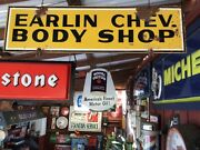 Vintage 1930and039s - 1940and039s Old Steel Earlin Chevrolet Dealership Body Shop Sign