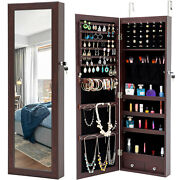 Wall/door Mounted Full Mirrored Jewelry Holder Organizer Cabinet Armoire W Led