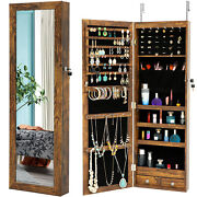 Led Jewelry Box Cabinet Lockable Armoire Wall Door Mounted W/ Mirror 2 Drawers