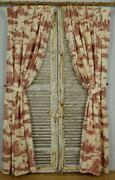 Stunning Pair Long Vintage French Toile Curtains, Antique Rings And Sewn Tie Backs