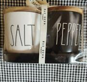 Rae Dunn Farmhouse Black And Ivory Ll Salt And Pepper Cellars With Wood Lids And Tray