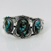 Vtg Old Pawn Three Turquoise Stone Navajo Cuff Bracelet Sterling Silver