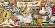 Primitive Home Baking Rooster Country Kitchen Signs Wallpaper Border, 15' X 8.8