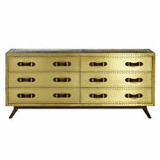 Zimlay Large 6-drawer Brass-plated Wood Chest With Leather Handles 74213