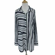 Chicos Traveler Collection Sheer Tunic Blouse Size 2 Stripe Contrast Button Up