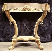 Antique Vintage Old Carved Wood Wooden Console Side End Accent Foyer Sofa Table