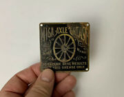Rare Vintage Mica Axle Grease Brass Buggy Badge Emblem Sign Can Standard Oil