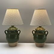 Rare Pair Of Vintage Pierre Deux French Country Green Pottery Confit Pots Lamps