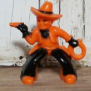Rare Vintage Halloween Rosbro Rosen Plastic Toy Cowboy With Gun And Rope .19 Cents