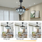 36 Remote Invisible Blades Led Chandelier Crystal Retractable Fan Light Used