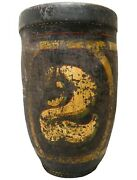 Rare Early 19th C American Antique Hnd Dec Leather Fire Bucket W/gold Gilt 2
