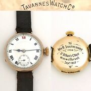 Vintage Wwi Era Tavannes Mens Military Trench Watch Porcelain Red 12 Muswelbrook