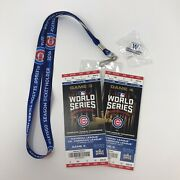 2016 Cubs World Series Game 3 And Game 4 Tickets Mint W/ Season Lanyard And Pin