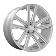 24 Inch 5x127 4 Wheels Rims 24x10 +10mm Gloss Silver Brushed Face Dub 1pc S257