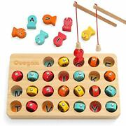 Coogam Wooden Magnetic Fishing Game Fine Motor Skill Toy Abc Alphabet Color S...