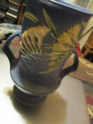 Vintage Roseville Freesia Handled Vase In Blue 123-9 Ca. 1945 Perfect Condition