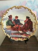 Limoges France Handpainted Charger Plate Scene Signed D. Bazanay