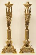 30 Amazing Pair Of Brass Angel Altar Candle Sticks -166- Church Chalice Co.