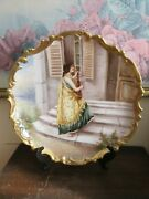L S And S Limoges France Handpainted Charger Plate Scene Girl Play Guitar Signed