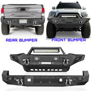 Front Rear Bumper W/ Led Lights/d-ings/winch Plate Combo For Toyota Tacoma 05-15