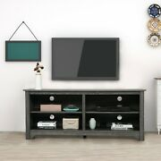 """58"""" Wooden Tv Stand For Tvs Up To 65"""" Farmhouse Universal Stand W/ Storage Shelf"""