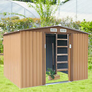 6'x8' Garden Tool Storage Utility Shed Outdoor House Galvanized Steel 4 Vents