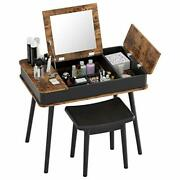 Vanity Set With Mirror And Stool Makeup Table Set With Flip Top Organizers
