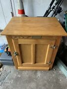 White Clad Vintage Antique Oak Ice Box End Side Table Night Stand Simmons Brass