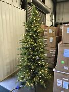 Open Box Balsam Hill Red Spruce Slim 7.5and039 Tree With Candlelight Led Lights Xmas